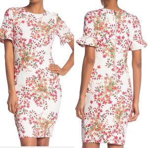 NWT Calvin Klein Bell Sleeve Floral Dress